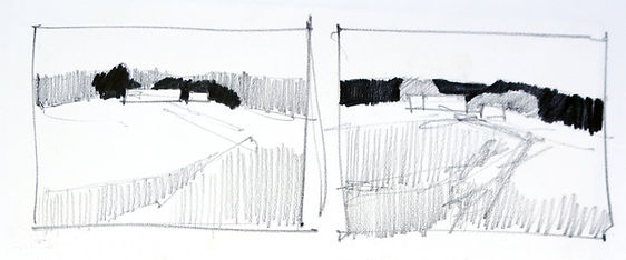 Example of two simple, pencil thumbnail sketches