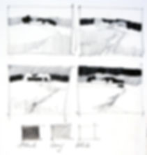 Four thumbnail sketches showing how tonal rearrangement can be tested before painting