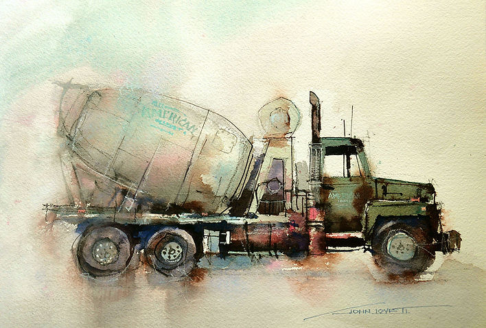 Watercolor Painting of cement truck