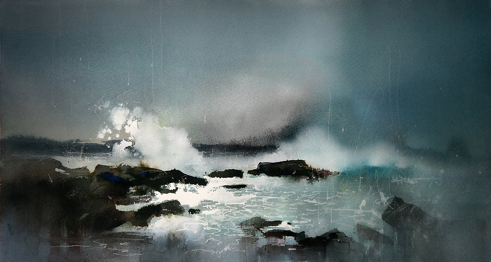 Watercolor painting of tidal-shelf, breaking waves and storm sea