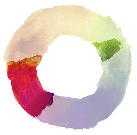 Color wheel showing dominant red with green accent color