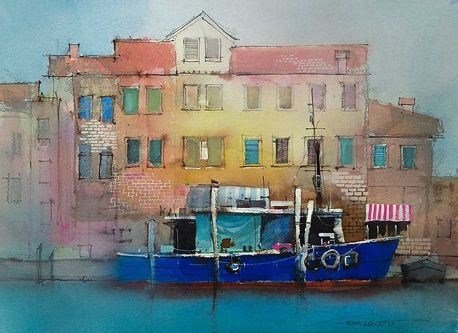 Watercolor of Venetion buildings and blue boat