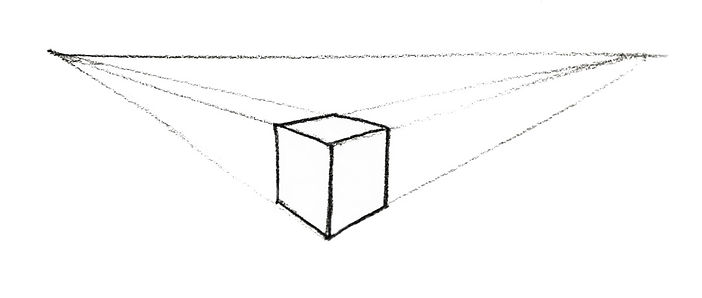 Simple perspective drawing of a box below eye level.