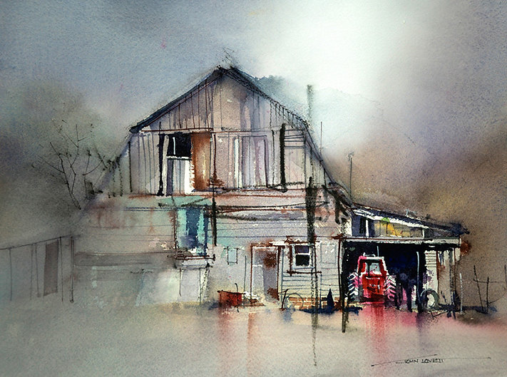Subtle grays add impact to the colors in this watercolor