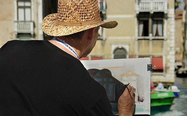 Painting a watercolor of Venice