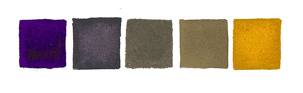 Greys mixed from complimentary colors violet and Yellow