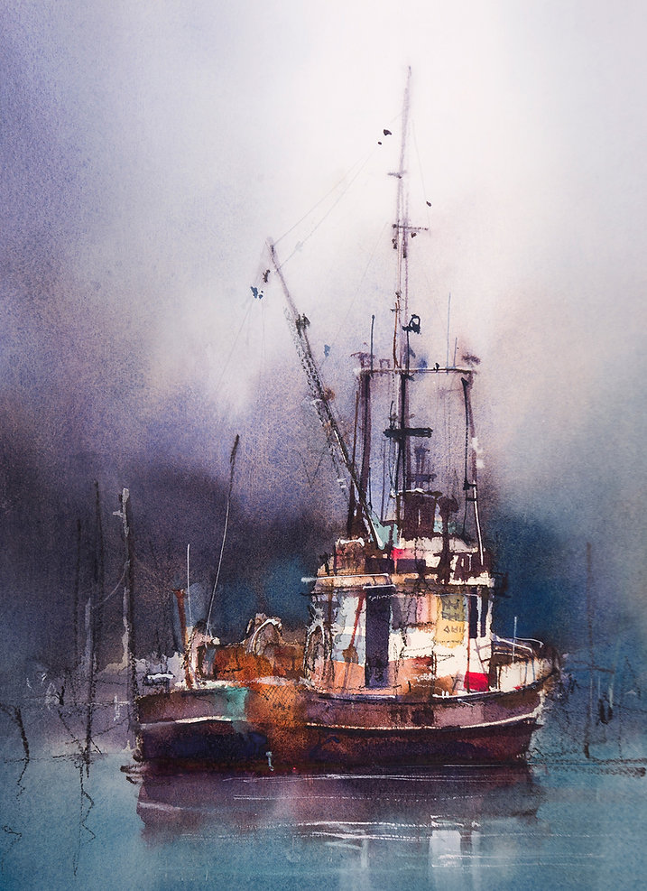 Watercolor Painting of moored fishing boat showing contrasting brush marks