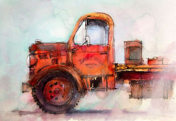 Watercolor painting of old red delivery truck