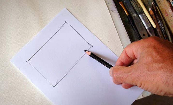 Sketch demonstrating the importance of correctly proportioning your thumbnail sketches.