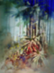 Painting demonstrating different brush techniques  © John Lovett