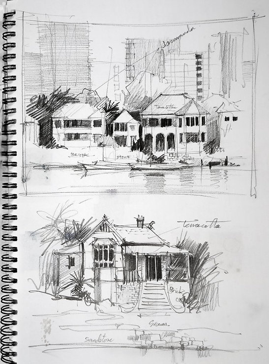 Detailed pencil sketches
