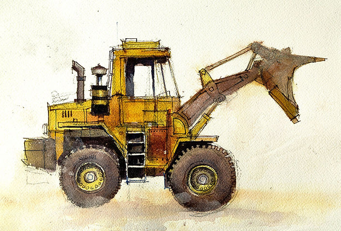 Watercolor painting of front end loader