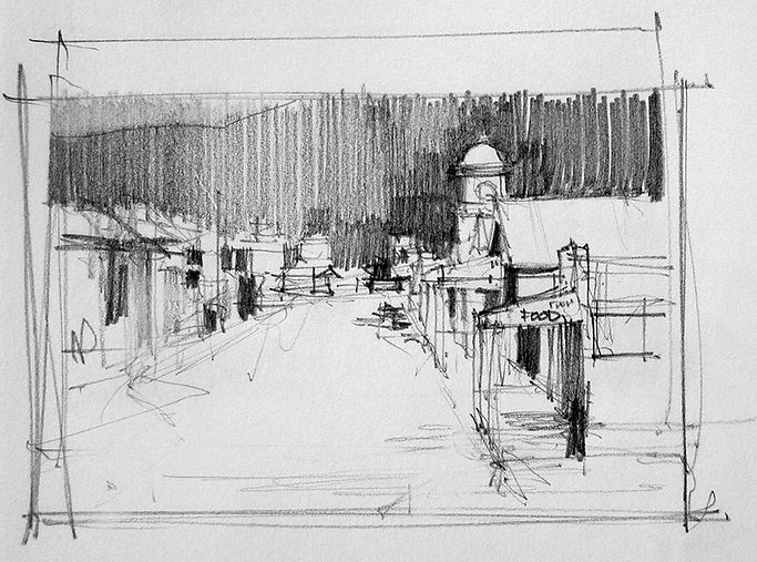 pencil sketch of village street