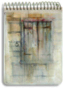 watercolor sketch of ancient closed shutters