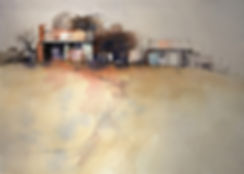 Painting of cottage showing random spacing, placement and variation of various elements