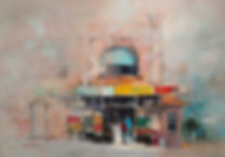 Watercolor painting of figures outside a corner store