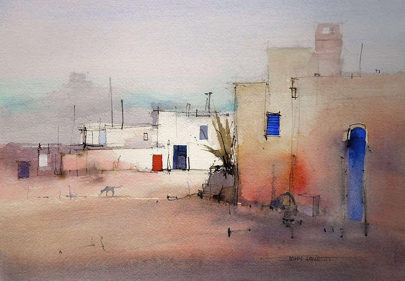 Watercolor Painting of buildings showing the importance of carefully placing each element