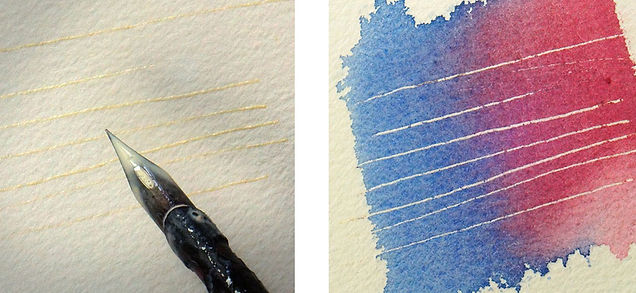 How to make fine lines with a pen and masking fluid.