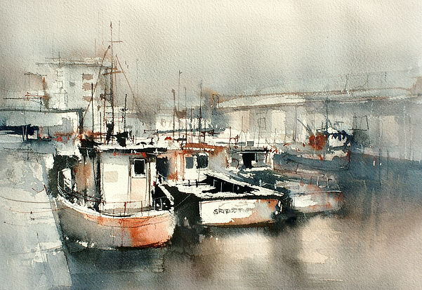 Limited palette Watercolor painting of Fishing Trawlers in a harbour