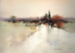 Landscape watercolor demonstrating the placement, spacing and variation of important elements