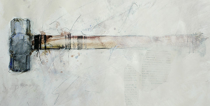Mixed media painting of a hammer showing contrasting brush marks