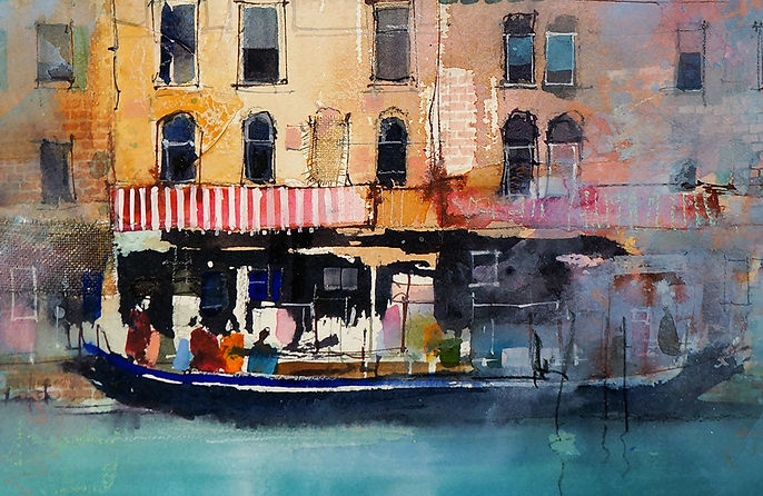 Watercolor painting of Venice using transparent orange glaze