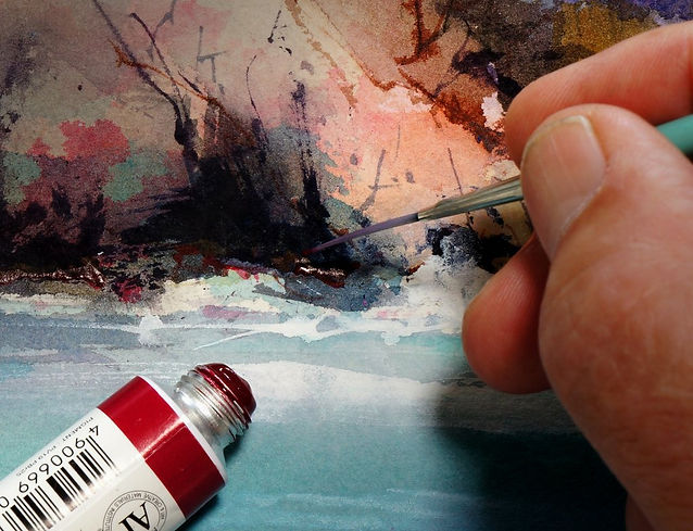 Warming a neutral dark with alizarin crimson watercolor