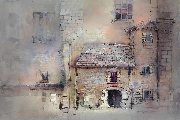 Watercolor contrasting areas of detail with areas of simplicity