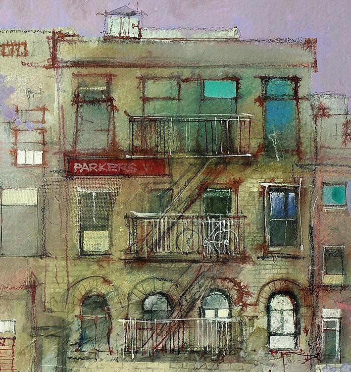 mixed media painting detail