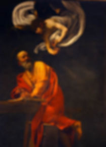 "Implied Lines – Caravaggio (1571-1610), ""The Inspiration of Saint Matthew"" 1602"