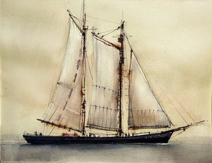 Watercolor painting of a sailing ship showing contrasting brush marks