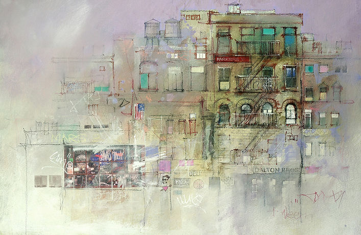 Mixed Media Painting - East Village NY