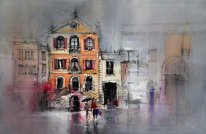 Watercolor painting of buildings in Annecy, France, using gesso glazes