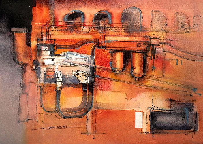 Watercolor painting of Allis-Chalmers Tractor engine
