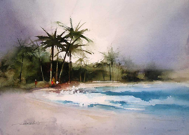 Watercolor of Beach and Palm trees using green mixed from Phthalo Blue and Burnt Sienna