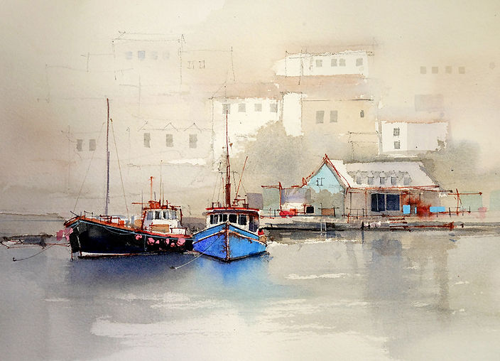 Watercolor painting of boats showing gradation of compound colors