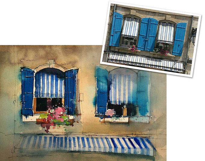 Watercolor painting demonstrating how to establish a focal point in a symetrical subject.