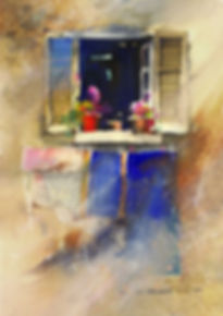 Watercolor painting of window with wide open shutters