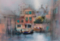 perspective drawing in painting of Venice.