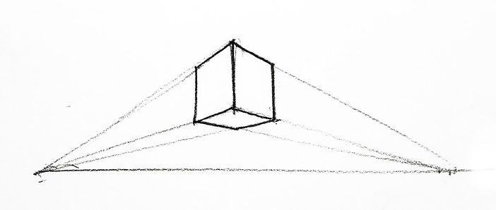 Simple perspective drawing of a box above eye level.