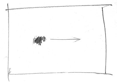 Sketch showing focal point moved to the left.
