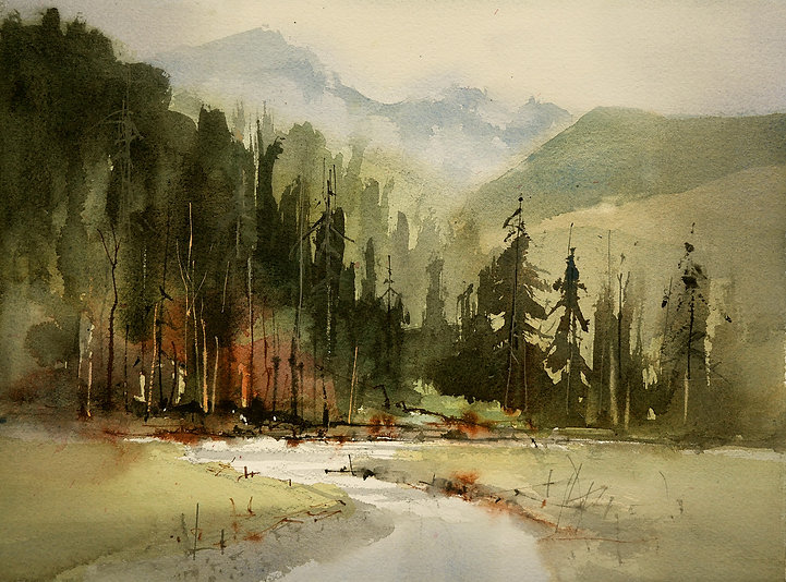 Watercolor painting showing varigated water edges