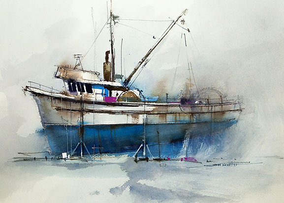 watercolor painting of fishing trawler using transparent glazes and opaque gesso