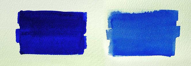 comparison between Ultramarine Blue and Cobalt Blue watercolor