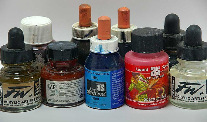 Colored pigment inks to use with watercolor