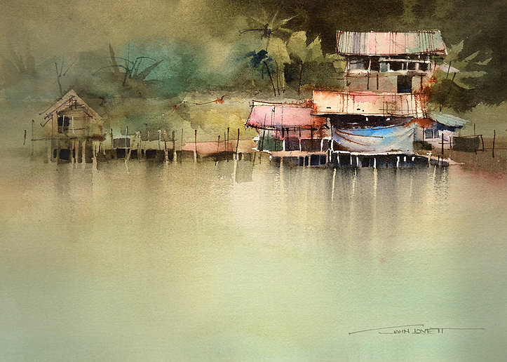 Hard watercolor edges reinforce the focal point in this painting