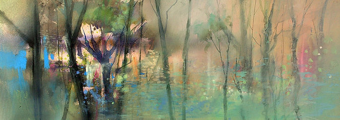 Abstract Watercolor Landscape using Watercolor, Gouache, Charcoal and Gesso