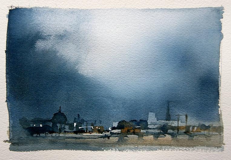 Limited palette watercolor sketch of Paris