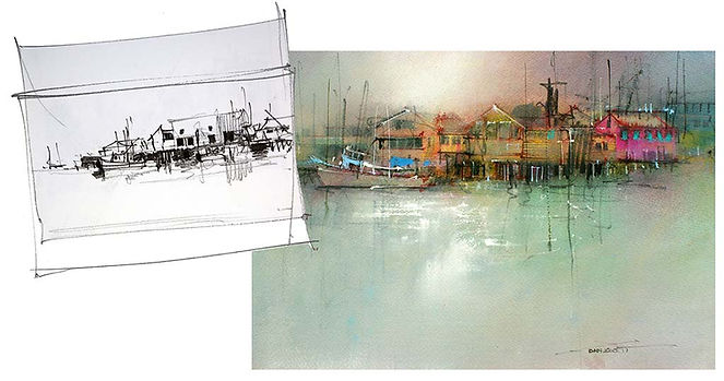 Example of thumbnail sketch and resultant watercolor painting.