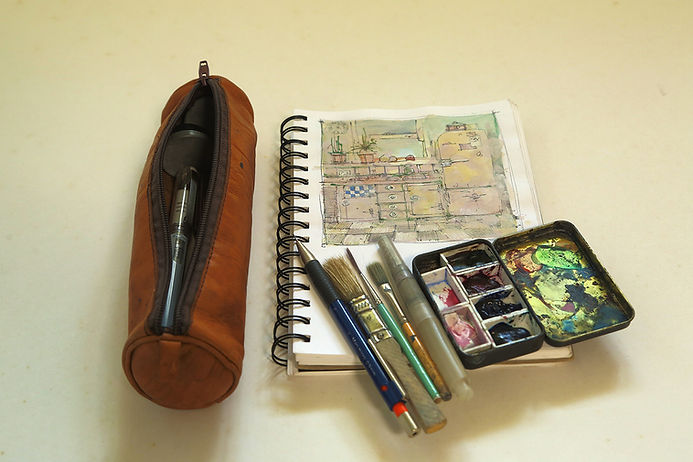 Traveling with Watercolor Tip 1. Small carry on watercolor painting kit.
